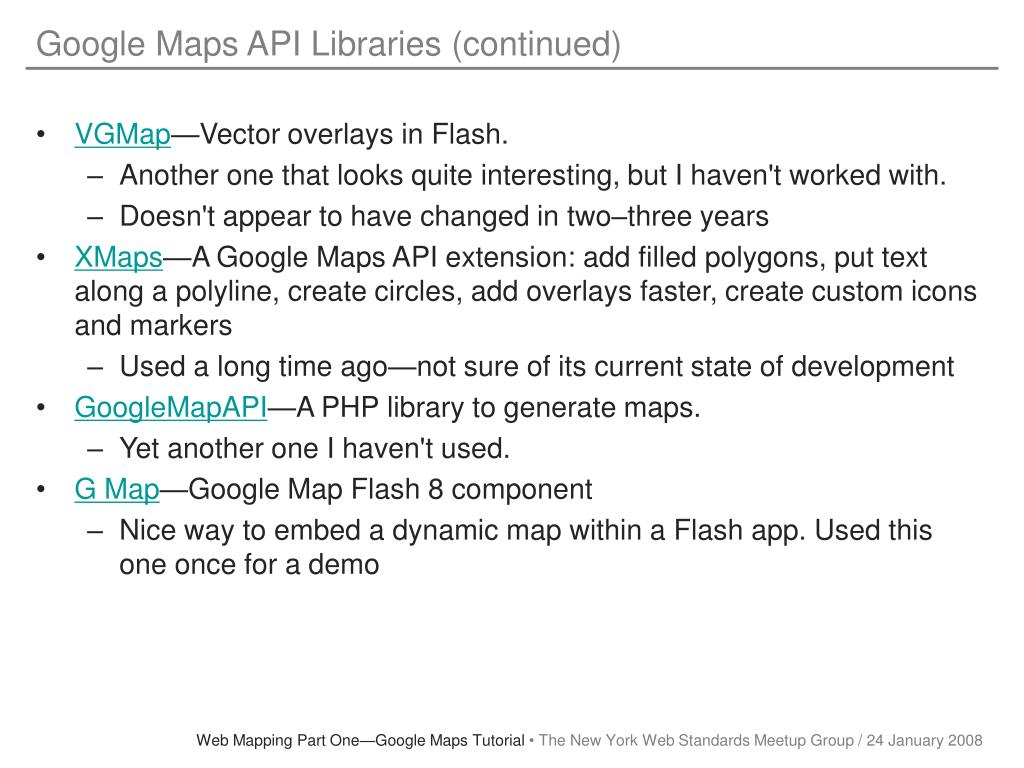 Google Maps API Libraries (continued)