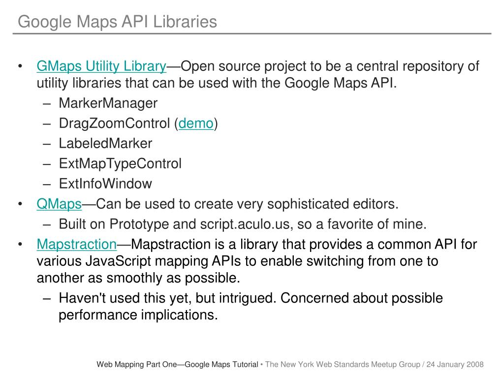 Google Maps API Libraries