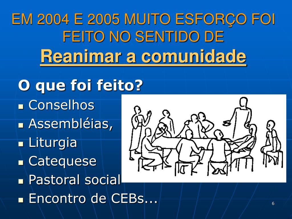 EM 2004 E 2005 MUITO ESFORÇO FOI FEITO NO SENTIDO DE
