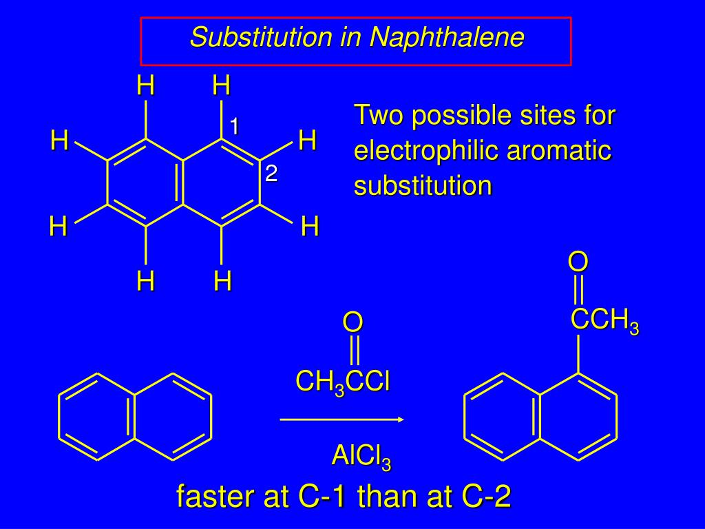 lab 1 nitration of naphthalene Using hno3 in the nitration reaction, nitronium ion (no2+) acts as an electrophile, and naphthalene behaves as a nucleophile this results in the c1 position being favored over the c2 position.