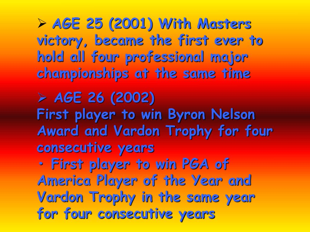 AGE 25 (2001) With Masters victory, became the first ever to hold all four professional major championships at the same time