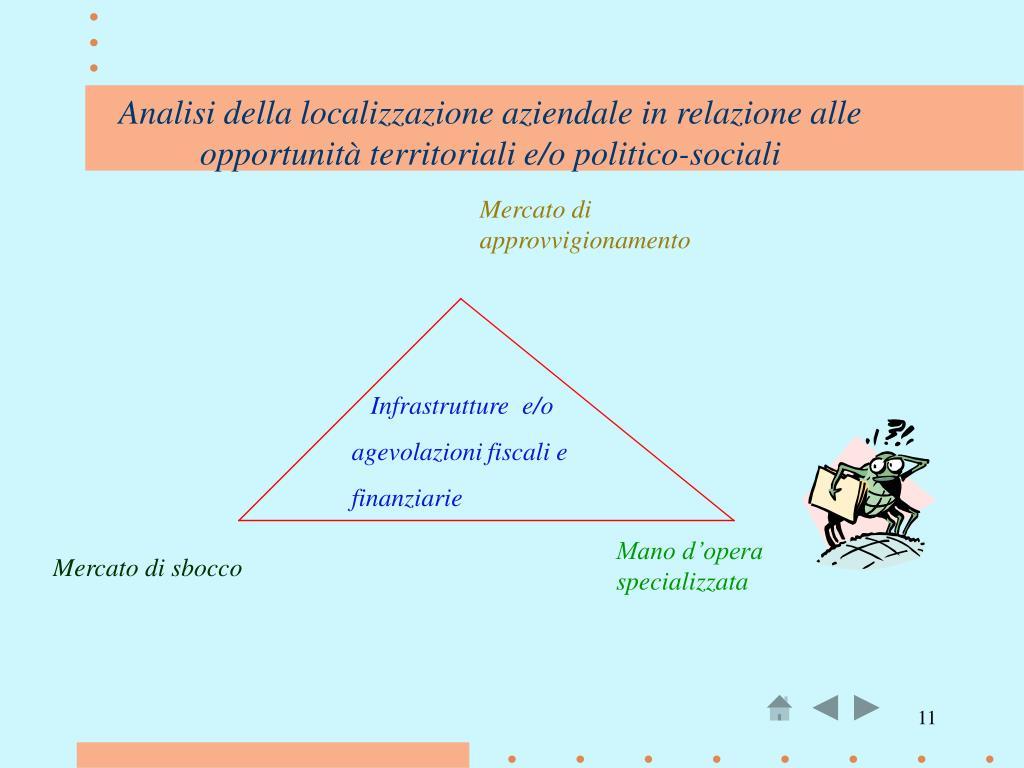 Analisi della localizzazione aziendale in relazione alle opportunità territoriali e/o politico-sociali