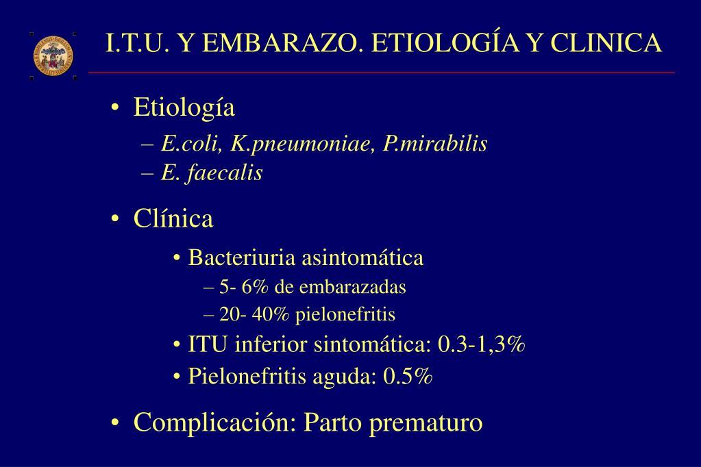 I.T.U. Y EMBARAZO. ETIOLOGÍA Y CLINICA