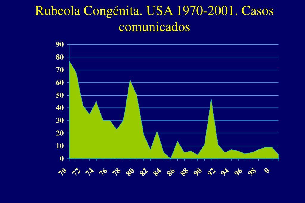Rubeola Congénita. USA 1970-2001. Casos comunicados