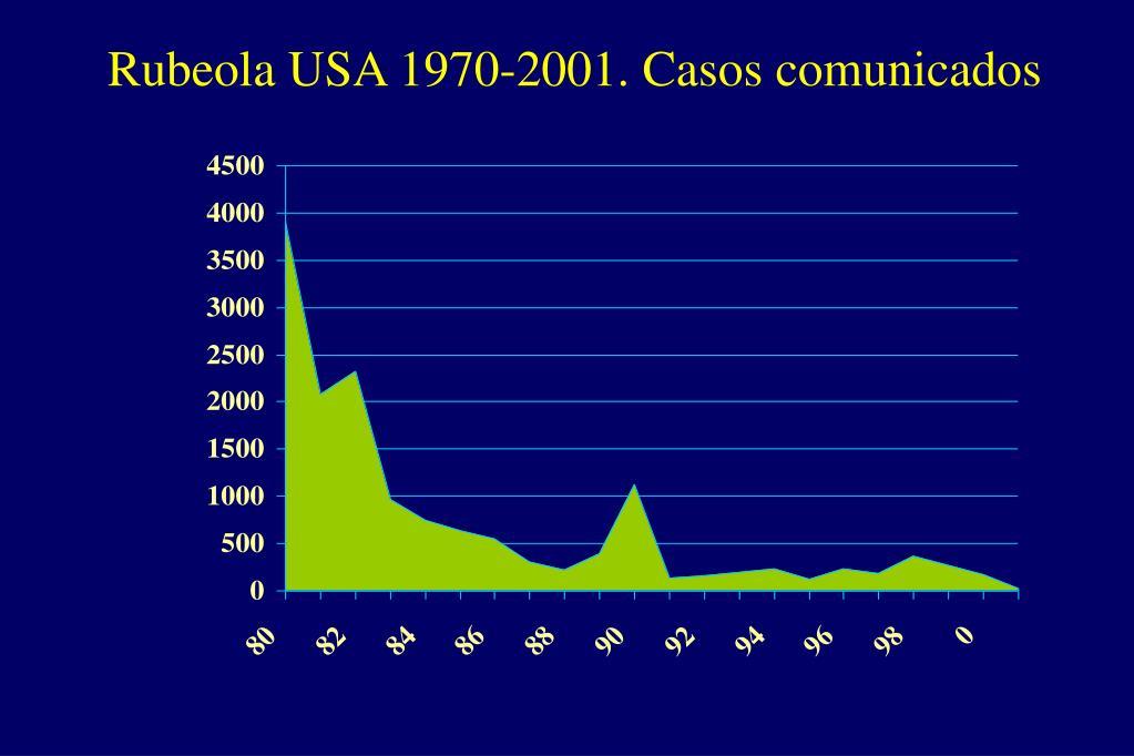 Rubeola USA 1970-2001. Casos comunicados