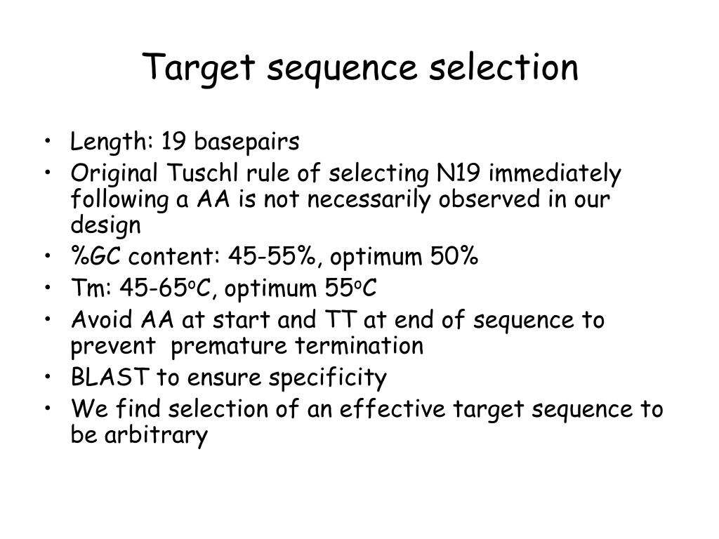 Target sequence selection