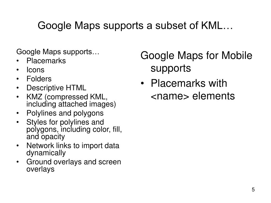 Google Maps supports…