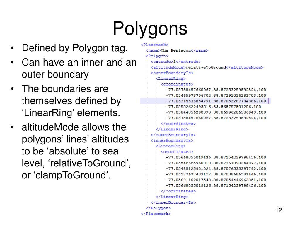 Defined by Polygon tag.