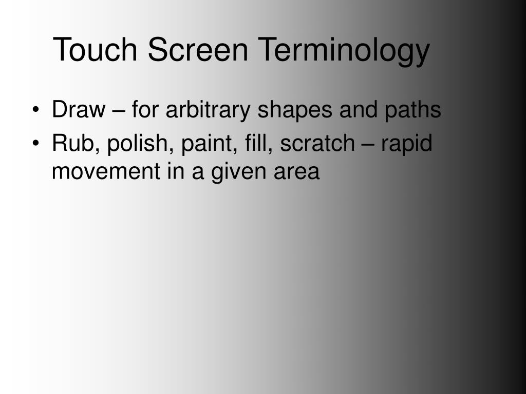 Touch Screen Terminology