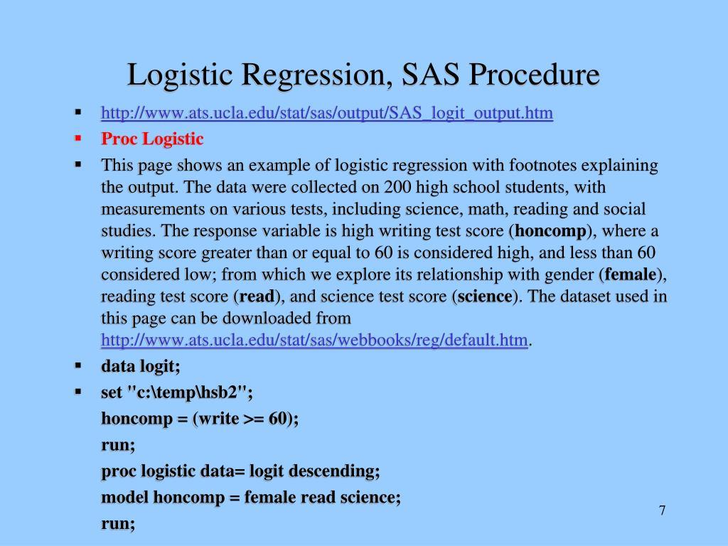 Logistic Regression, SAS Procedure