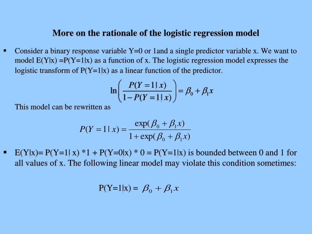 More on the rationale of the logistic regression model