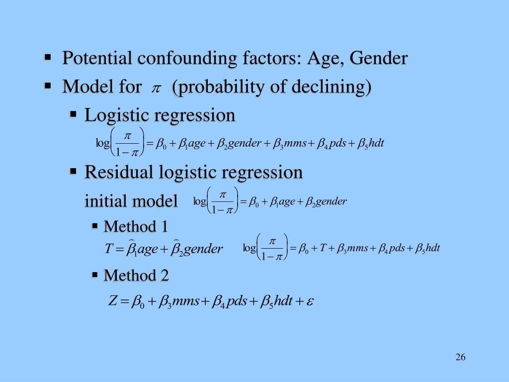 Potential confounding factors: Age, Gender