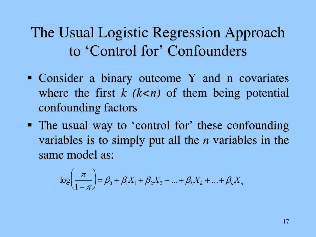 The Usual Logistic Regression Approach to 'Control for' Confounders