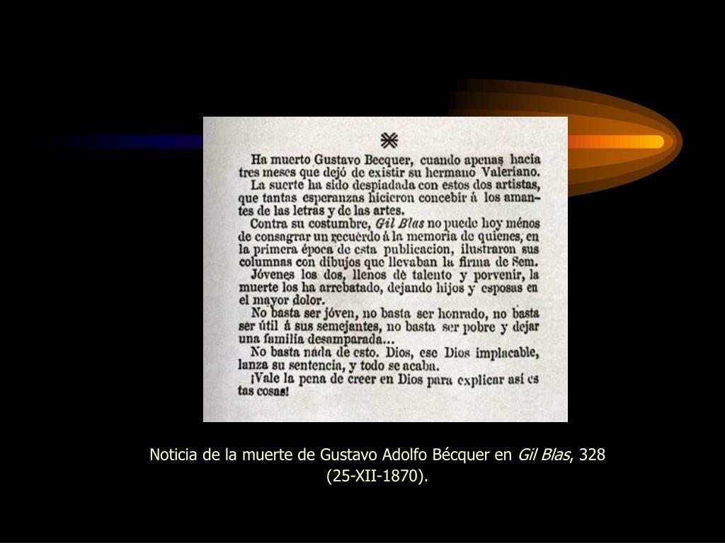 Noticia de la muerte de Gustavo Adolfo Bécquer en