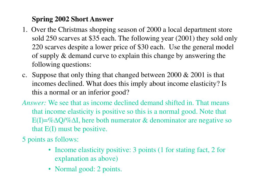 Spring 2002 Short Answer