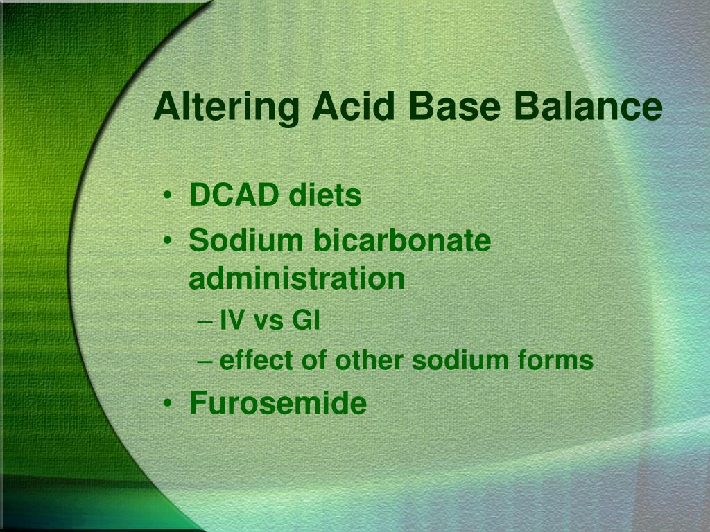 Altering Acid Base Balance