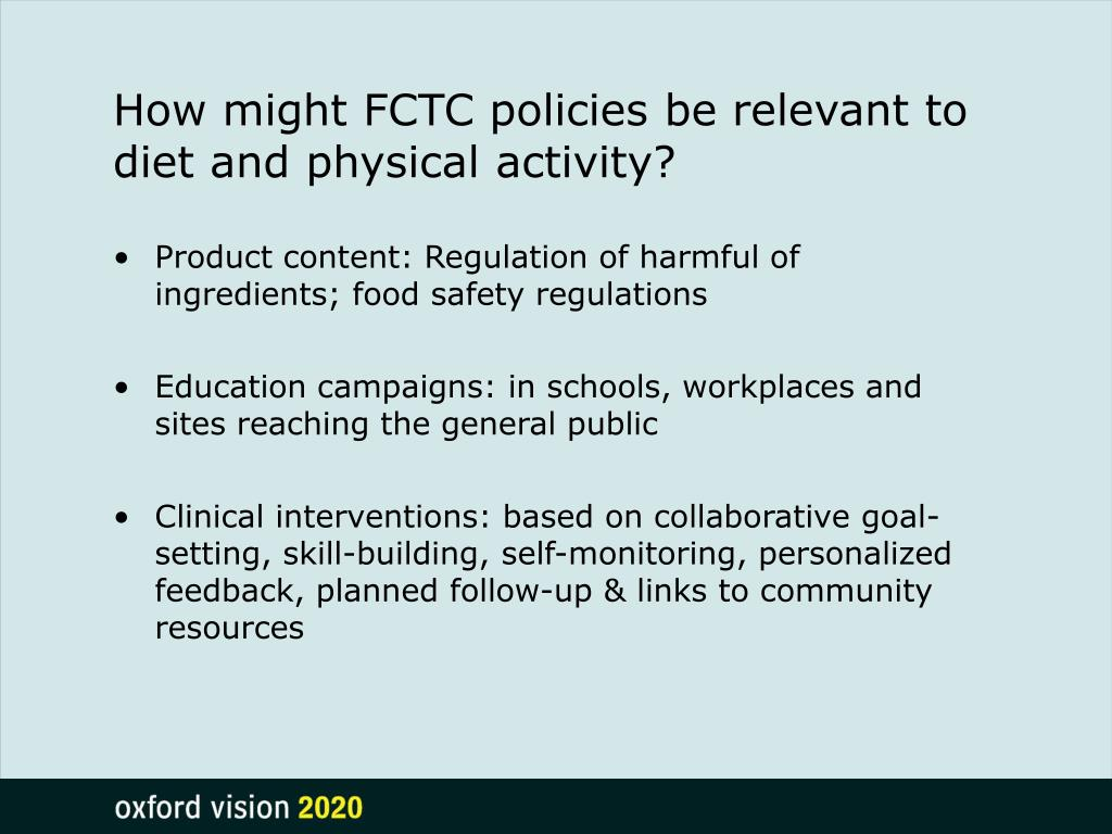 How might FCTC policies be relevant to diet and physical activity?