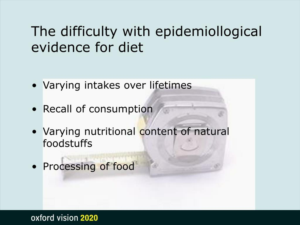 The difficulty with epidemiollogical evidence for diet