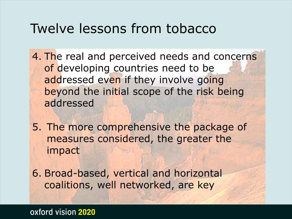 Twelve lessons from tobacco