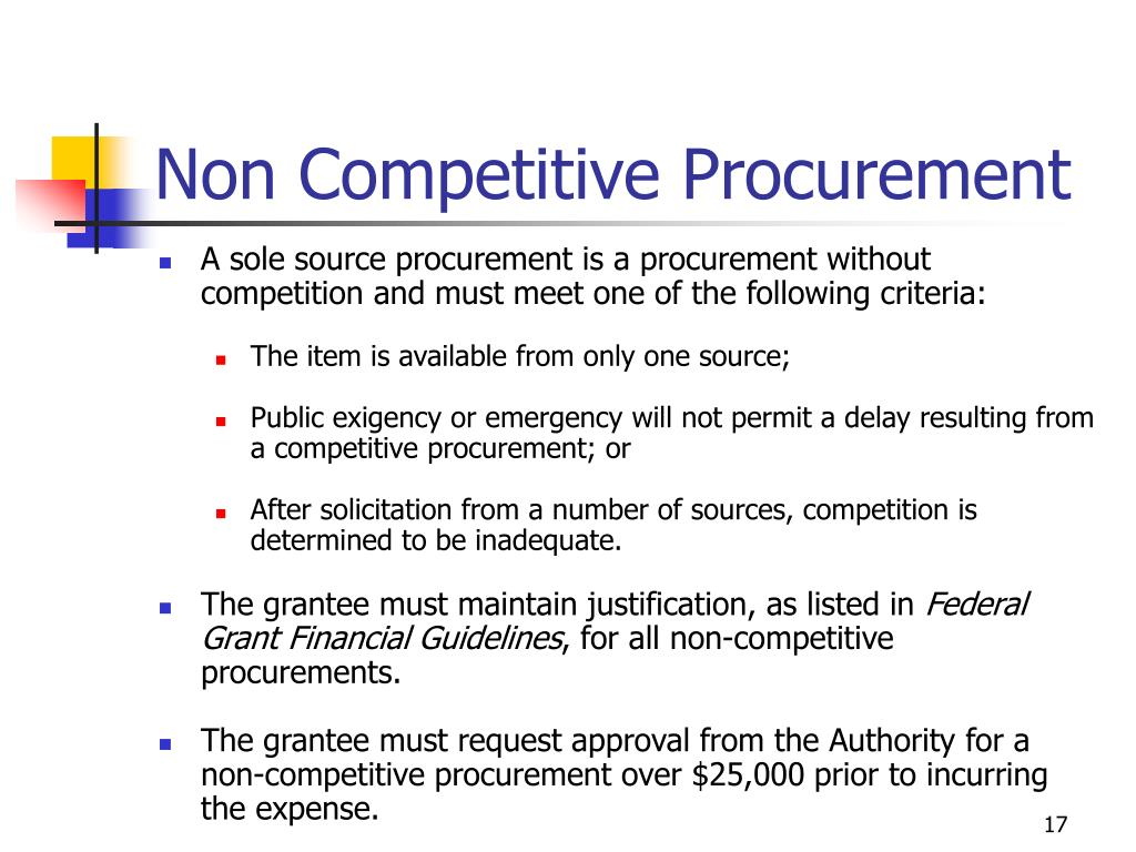 Non Competitive Procurement