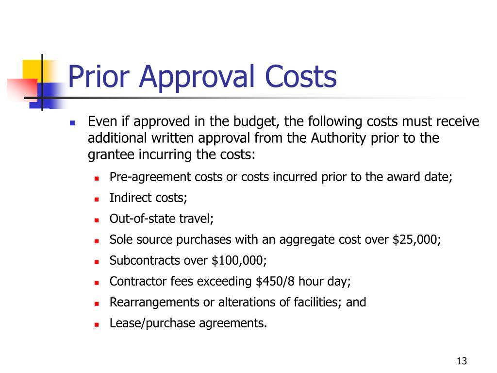 Prior Approval Costs