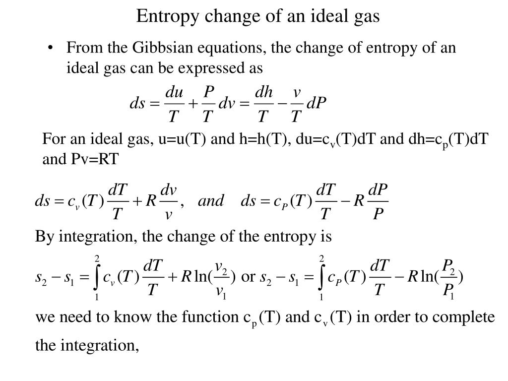 Entropy change of an ideal gas