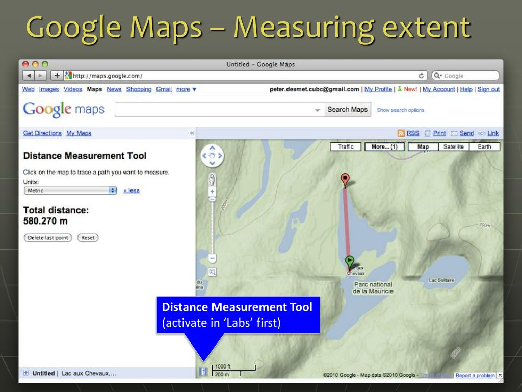 Google Maps – Measuring extent