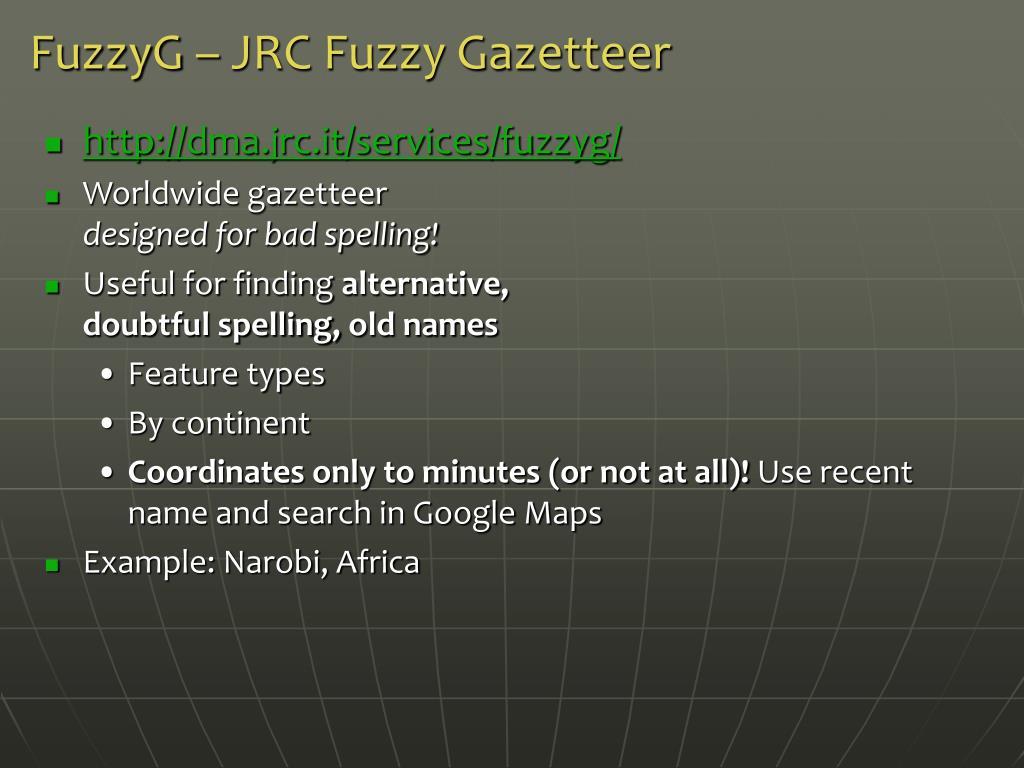 FuzzyG – JRC Fuzzy Gazetteer