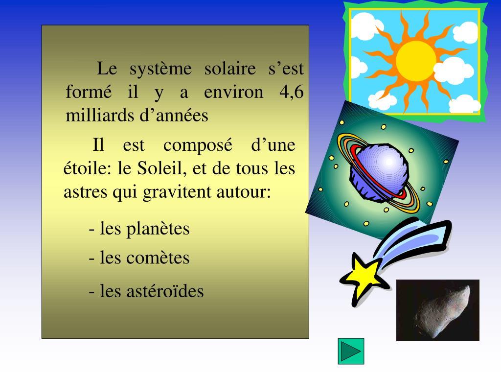 Le système solaire s'est formé il y a environ 4,6 milliards d'années