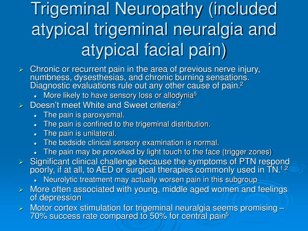 Trigeminal Neuropathy (included atypical trigeminal neuralgia and atypical facial pain)