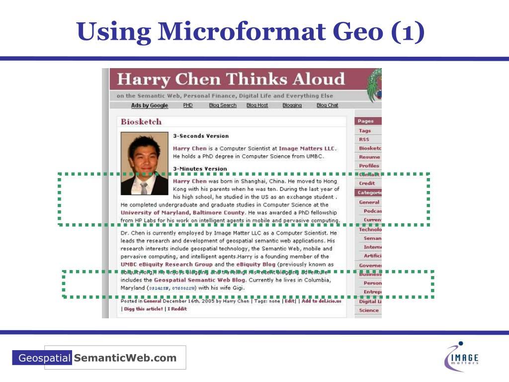 Using Microformat Geo (1)