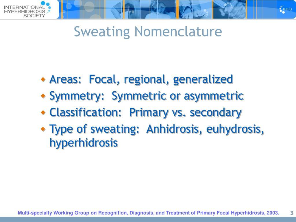 Sweating Nomenclature