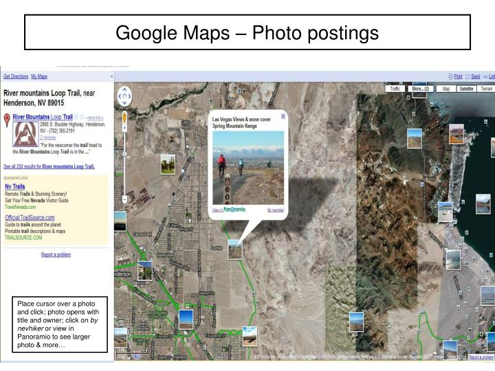 Google maps photo postings