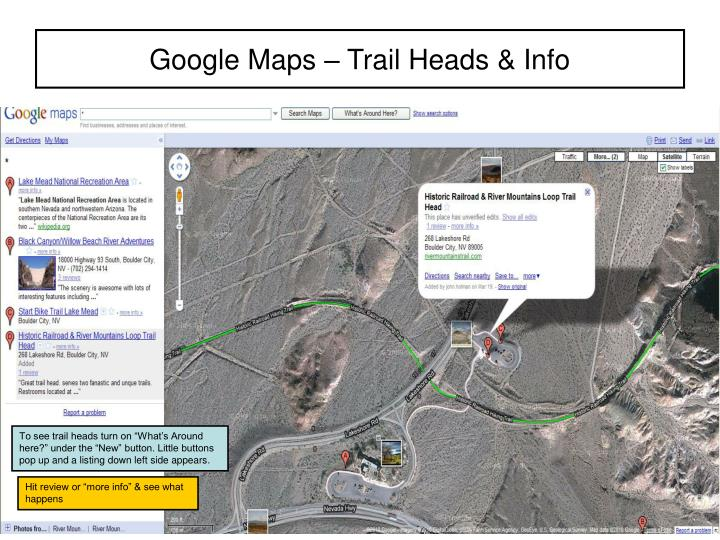 Google maps trail heads info