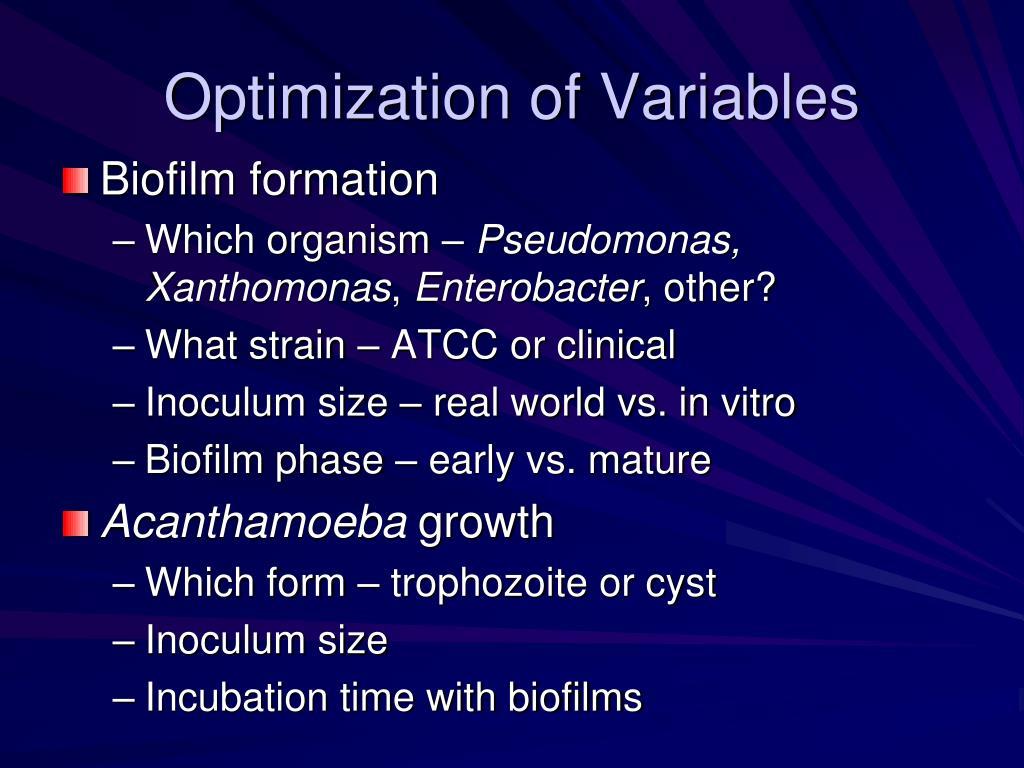 Optimization of Variables