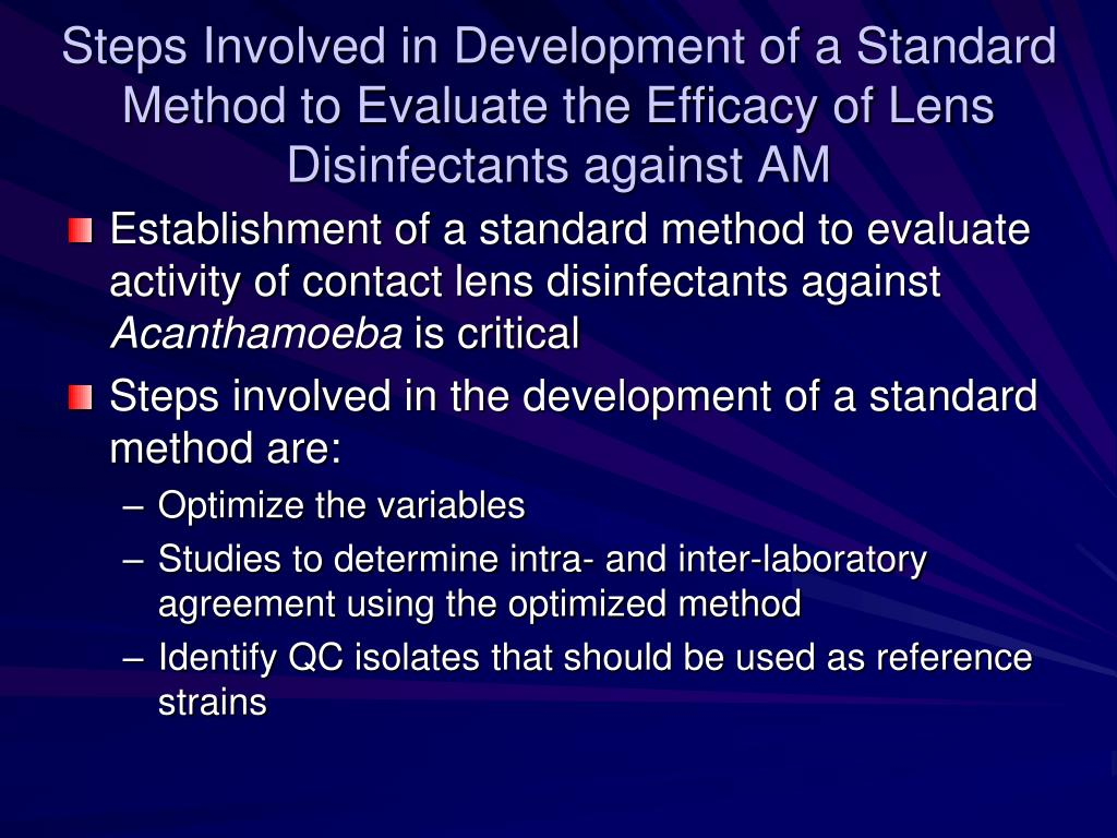 Steps Involved in Development of a Standard Method to Evaluate the Efficacy of Lens Disinfectants against AM
