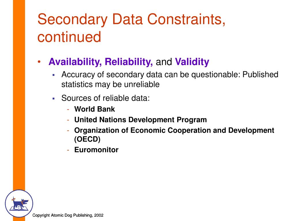 Secondary Data Constraints, continued