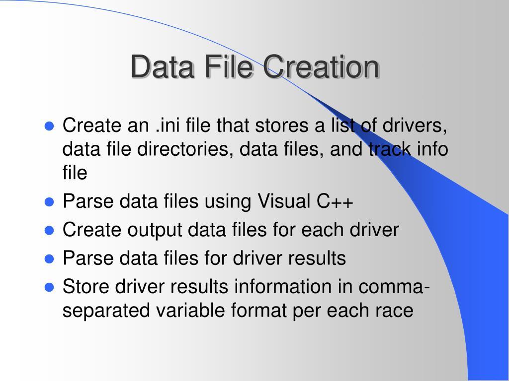 Data File Creation