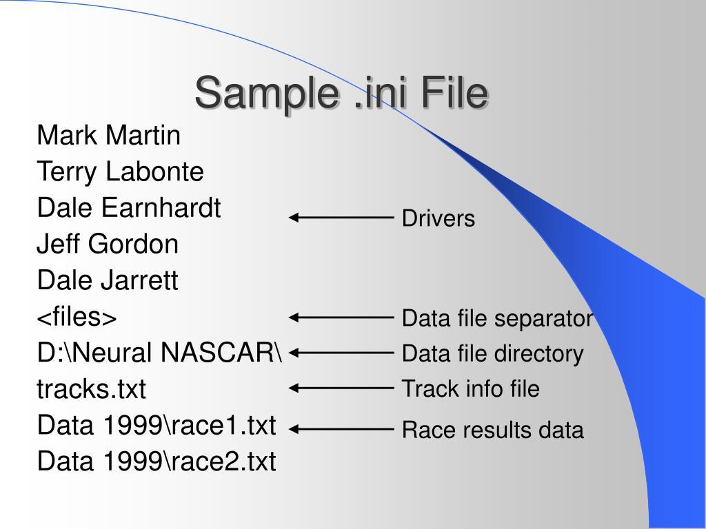 Sample .ini File