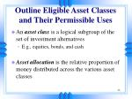 outline eligible asset classes and their permissible uses33