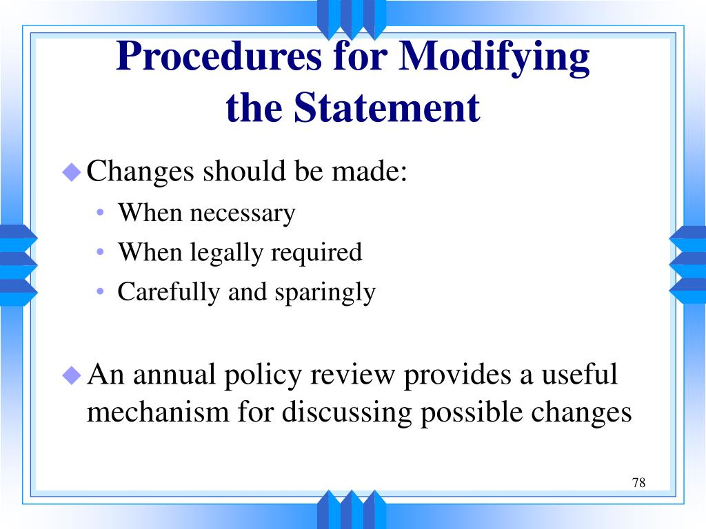 Procedures for Modifying