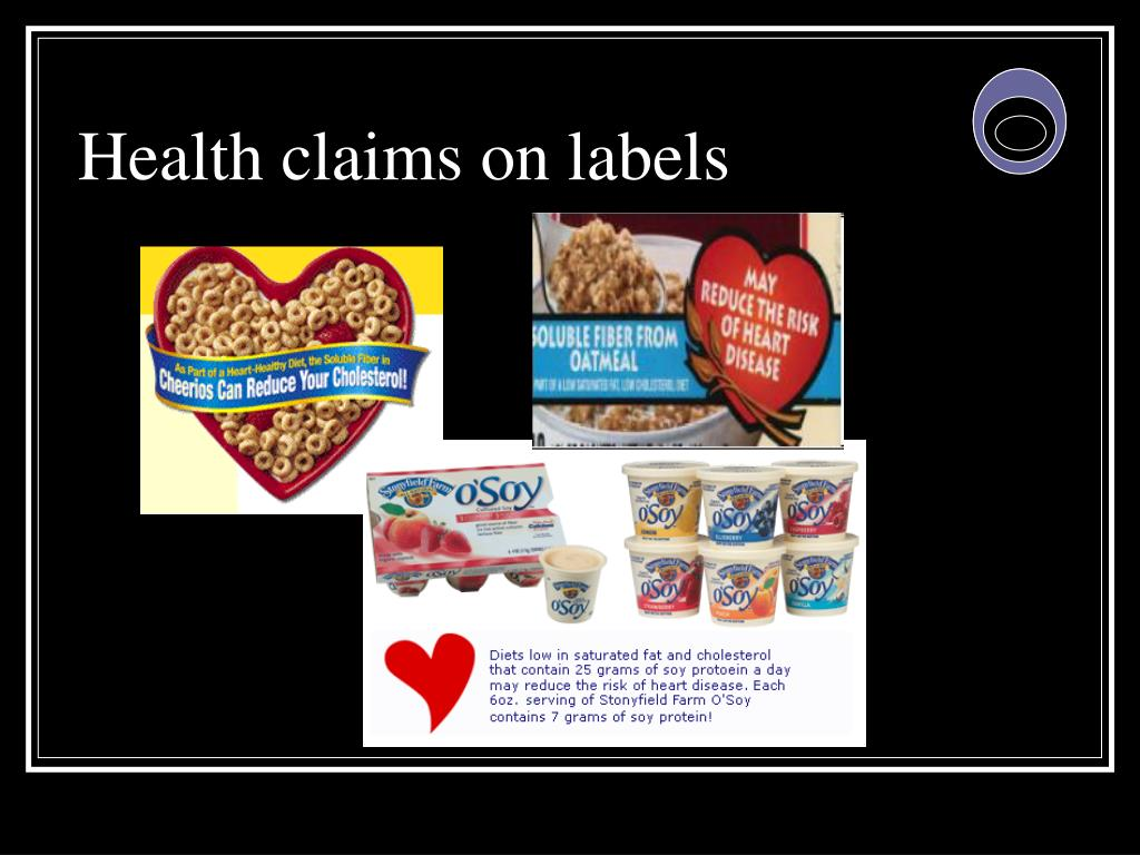 Health claims on labels