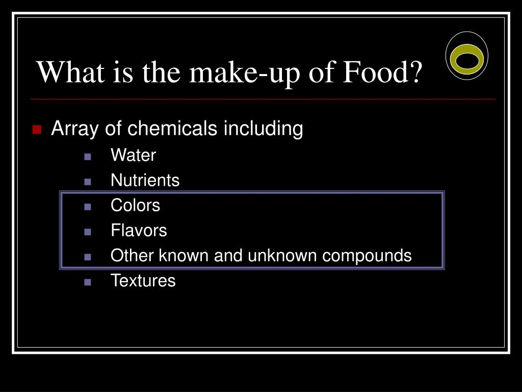 What is the make-up of Food?