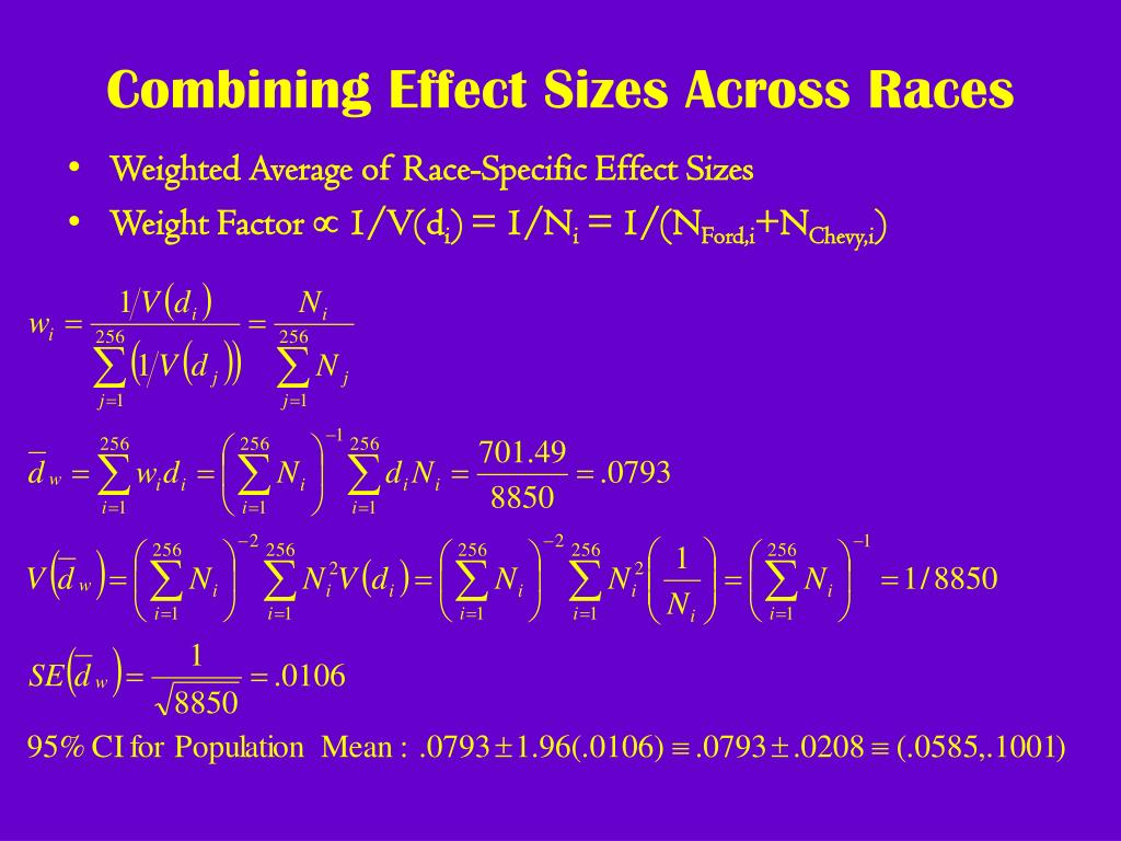 Combining Effect Sizes Across Races