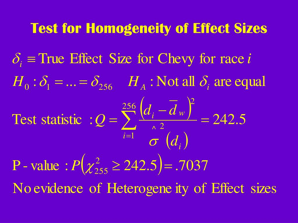 Test for Homogeneity of Effect Sizes
