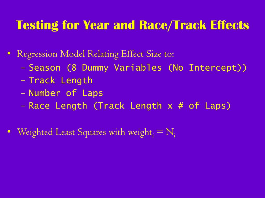 Testing for Year and Race/Track Effects