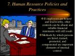 7 human resource policies and practices