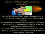 c section 404 reporting requirements for management