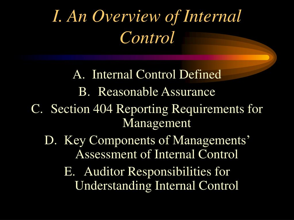 I. An Overview of Internal Control