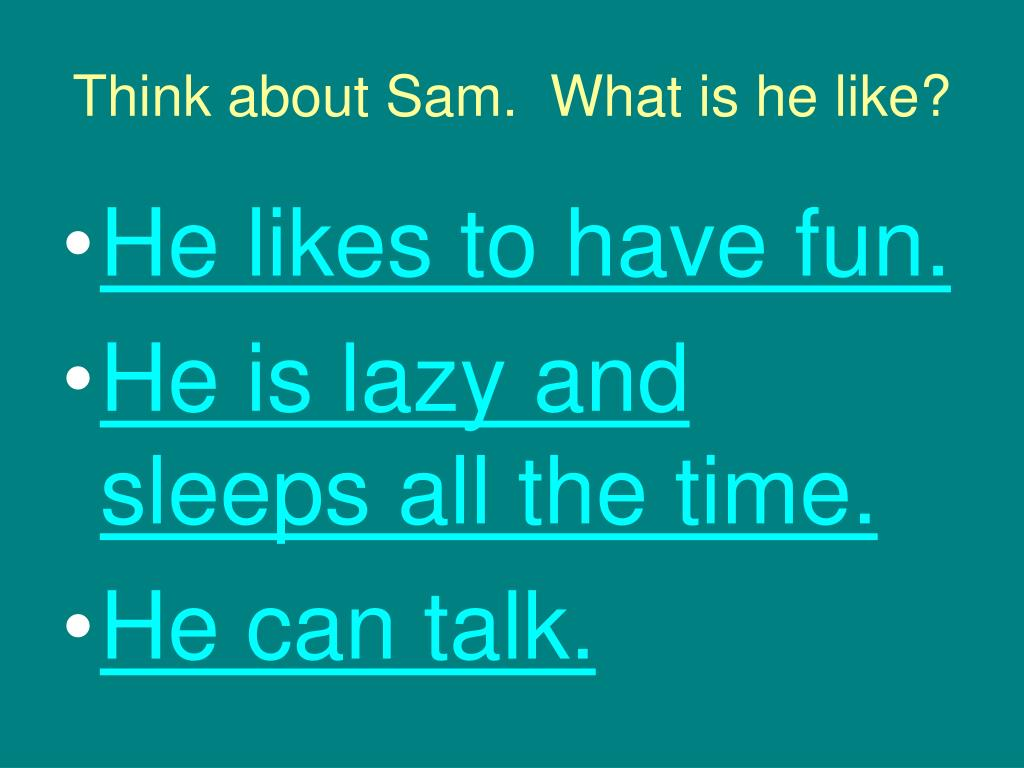 Think about Sam.  What is he like?